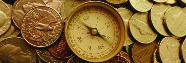 compass coins, envelope