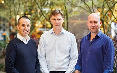 L-R Aris Allegos CEO, Piers Moller and Andrew Watt_400